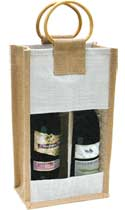 Two-Bottle Natural Wine bag with 1/2 Window