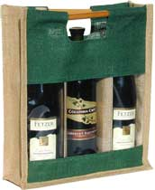 Three-Bottle Green-Natural Wine Bag with Window